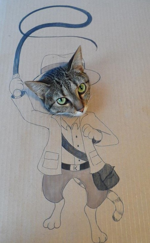 猫段ボールアート