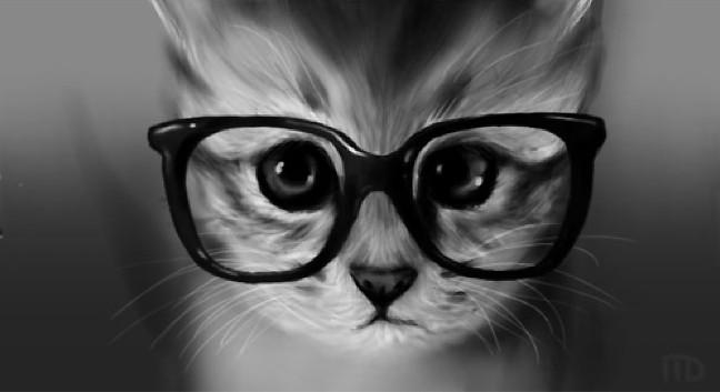 白黒にしたらインテリ猫メガネ